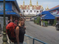Crossing the Thai border on foot.