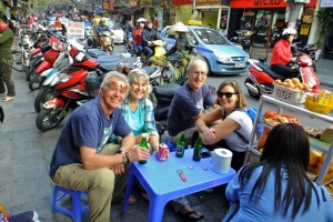 Plastic tables, cool beers & friends....memories of  Vietnam.