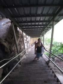 Climbing Nam Thean Tong cave temple-almost 400 stairs to the top!