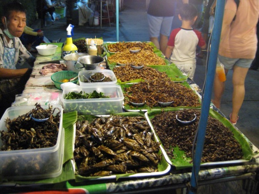 Fried crickets at this market