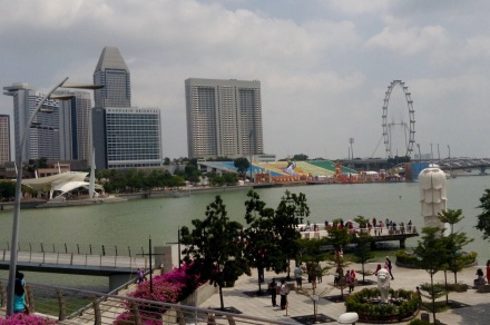 The Esplanade with Singapore Flyer in background (Ferris wheel)