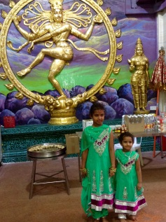 Little Indian girls at Hindu Temple