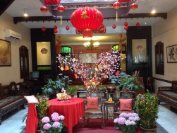 Our hotel lobby decorated for Chinese NY