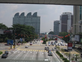 Cityscape from skywalk