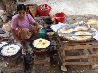 Making streetside pancakes