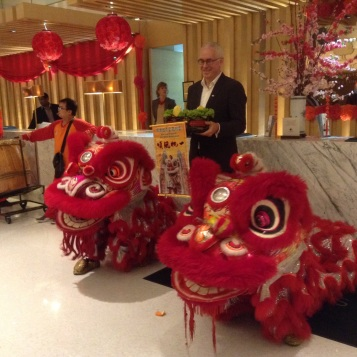 Dragon dancers in our hotel lobby