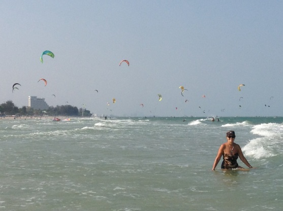 Hua Hin Beach kite-boarding