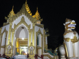 Pagoda entrance at night