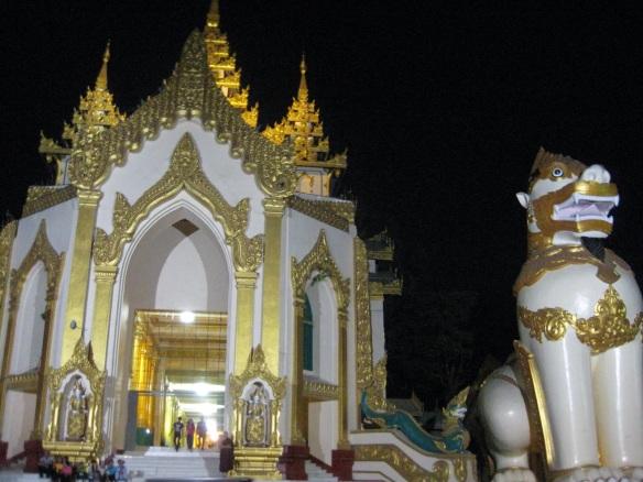 Pagoda entrance at night