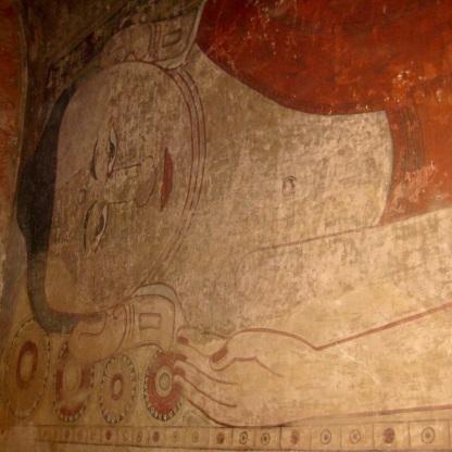 Reclining Buddha wall painting