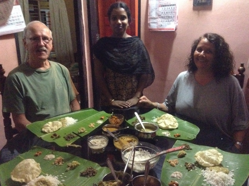 Thali (vegetable rice dinner) on a banana leaf
