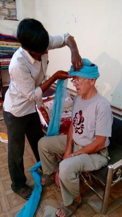 Getting his turban on