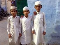 Muslim lads leaving mosque