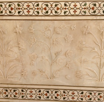 Pietra dura & exterior carved marble wall