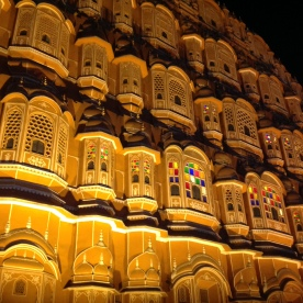 Street view of Hawa Mahal at night