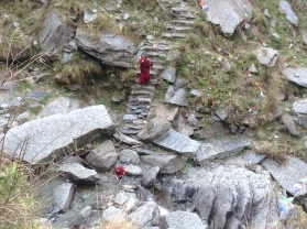 Monks descending the hillside