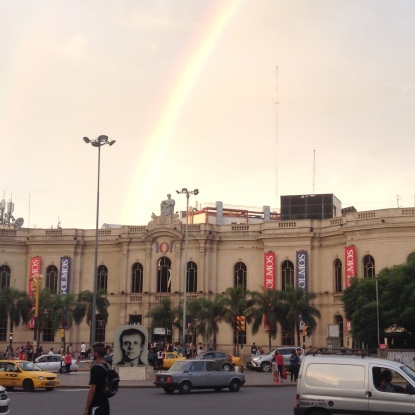 RInbow over shopping mall