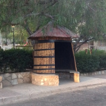 Bus shelter in town of Pisco Equil